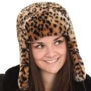 Tijgerprint bontmuts voor vrouwen