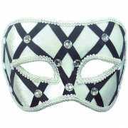 Wit met zwart motief oogmasker voor volwassenen