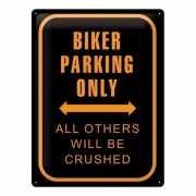 Metalen plaat voor aan de muur bikers parking only