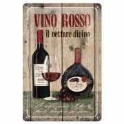Bruine kroeg decoratie Muurdecoratie Vino Rosso 20 x 30 cm