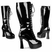 Zwarte glimmende veter laarzen