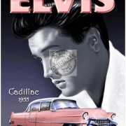 Metalen plaat met Elvis Presley en zijn Cadillac