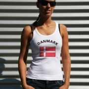Mouwloos shirt met vlag Denemarken print voor dames