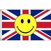Rood wit blauwe vlag met smiley 90 x 150 cm
