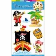Muur deco stickers piraten 6 stuks