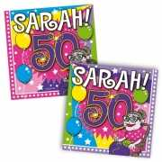 Papieren servetjes Sarah 50 jaar