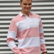 Rugbyshirt roze gestreept