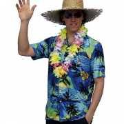 Hawaii shirt blauw met palmbomen