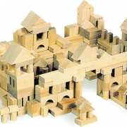 Zak met 100 houten blokken