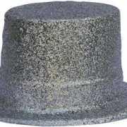 Hoge hoed met zilveren glitters