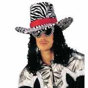 Funky zebra print hoed met haar