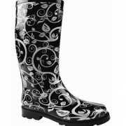 Zwart met witte dames laarzen
