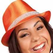 Oranje hoedje met blingbling rand