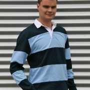 Rugby shirt licht blauw met navy