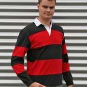 Rugby shirt zwart met rood