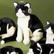 Zittende kat knuffel zwart/wit 30cm
