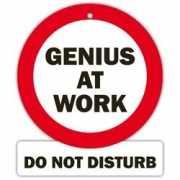 Fun stopbordje Genius at work