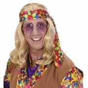 Hippie pruik met lang blond haar