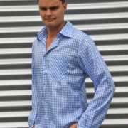 Oktoberfest Blauwe geruite blouse voor heren