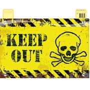 Geel deurbord Keep Out