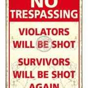 Grote muurplaat No Trespassing 30x40cm
