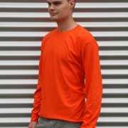 Heren t shirt lange mouw oranje