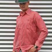 Oktoberfest Tiroler blouse rood voor heren