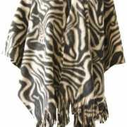 Fleece poncho met zebra print