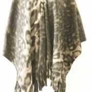 Fleece poncho met panter print