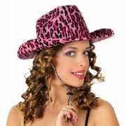 Roze cowboy hoed met luipaard print