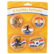 Oranje supporters buttons 5 stuks