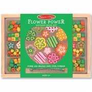 Houten kralenset Flower Power