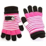 2 in 1 meisjes handschoenen fuchsia/zwart