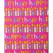 Inpakpapier Happy birthday roze